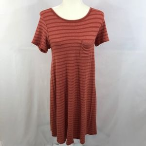 LuLaRoe Heather Striped Orange Carly Dress Sz XXS